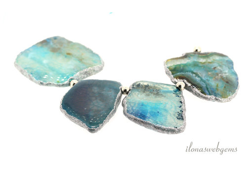 Fire Agate slices blue from approx. 46x34x7 to 56x49x7mm