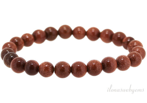 Goldstone Perlen Armband braun um 8mm