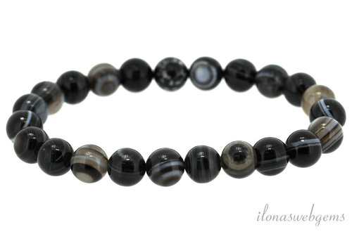 Black stripe agate beaded bracelet around 4mm
