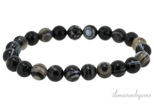 Schwarzer Streifen Achat Perlen Armband um 4mm