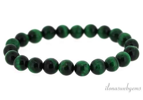 Tijgeroog kralen armbandje  groen rond ca. 4mm