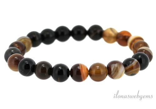 Brown stripe agate beaded bracelet around 8mm