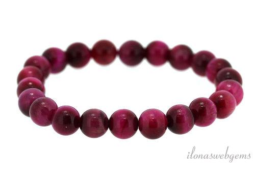 Tiger eye beads bracelet pink around 6mm