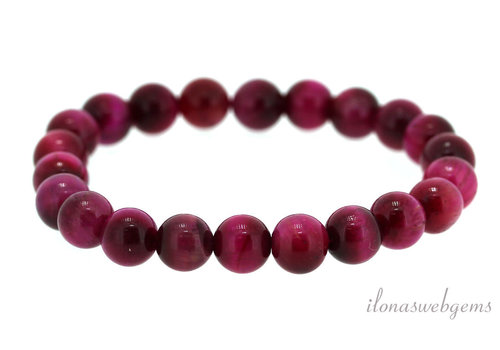 Tiger eye beaded bracelet pink around 4mm
