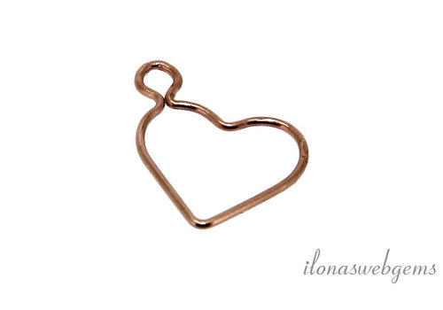 14k rose Gold filled charm heart around 15.5mm