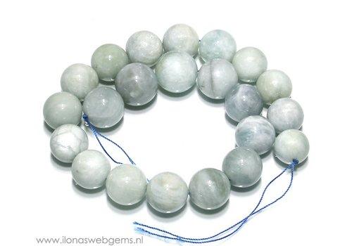 Aquamarine beads round rising from 16 to 20 mm