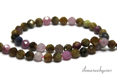 Ruby and Sapphire beads Diamond cut