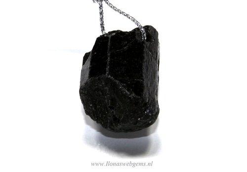 Hanger zwarte Toermalijn/ schörl ca. 32x15