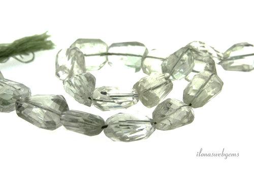 Prasiolith Perlen (grüner Amethyst) freie Form um 8x23mm