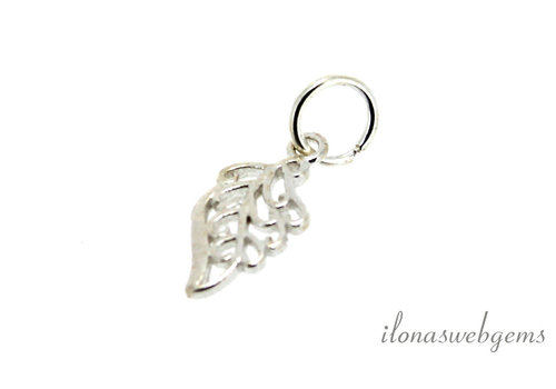 Sterling silver charm Leaf approximately 12x5.5mm
