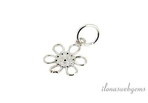 Sterling Silber Charm Blume um 10mm