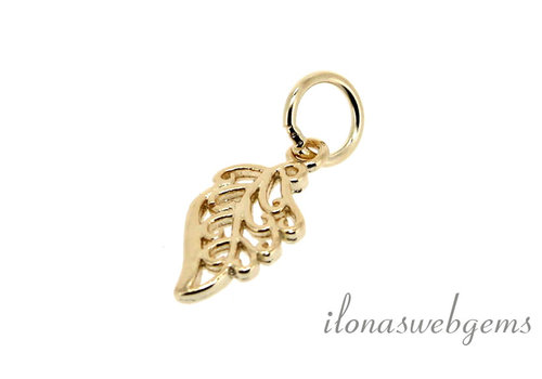 Vermeil charm leaf about 12x5.5mm