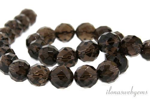 Smoky quartz beads around faceted around 12mm