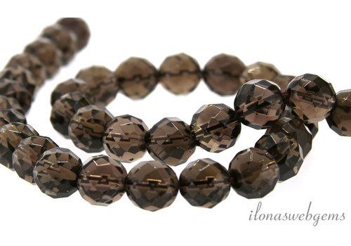 Smoky quartz beads faceted around 10mm