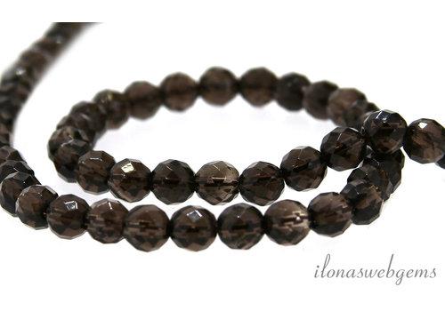 Smoky quartz beads round facet about 4mm