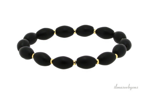 Armband Onyx met gold filled rondel