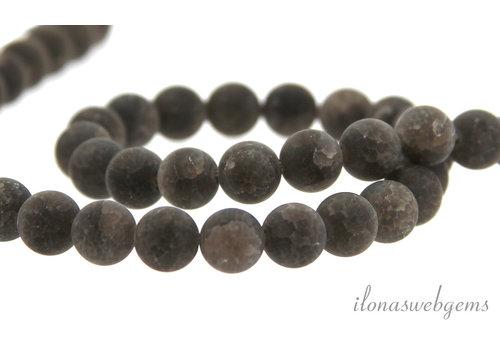 Smoky quartz crackle beads around ca. 8.5mm