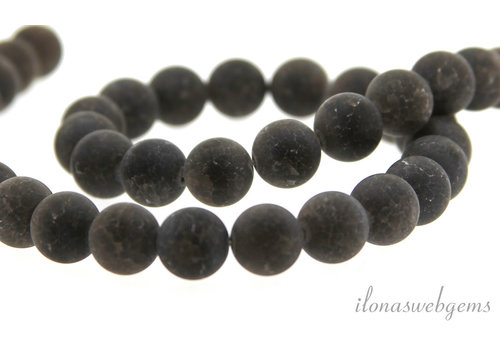 Smoky quartz crackle beads around 10mm