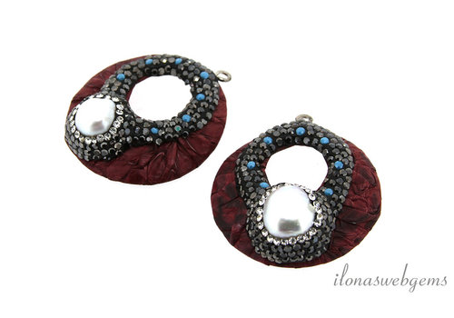 1 pair of Earring pendants snake leather around 36mm