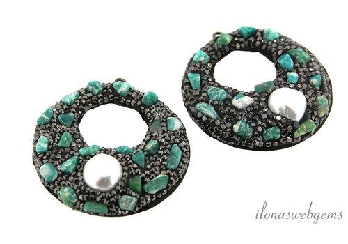 1 pair of Earring pendants snakeskin around 45mm