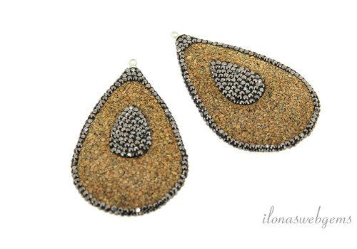 1 pair of Earring pendants snakeskin around 55x35mm