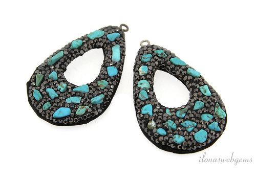1 pair of earring pendants snakeskin around 50x30mm
