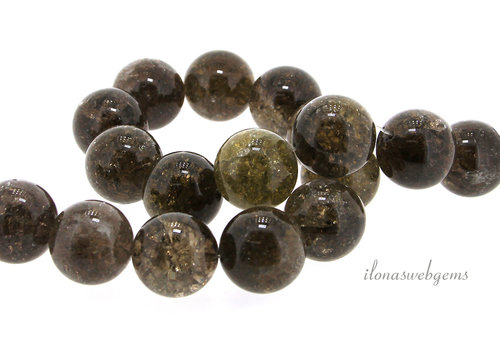 Smoky quartz beads around crackle around 20mm