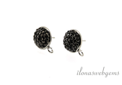 1 pair of ear studs with Marcasite around 12mm