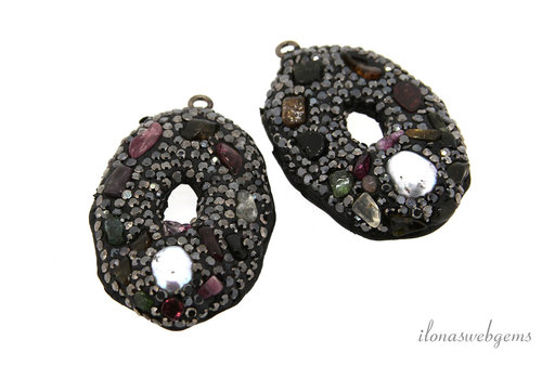 1 pair of earring pendants snake leather around 37x28mm