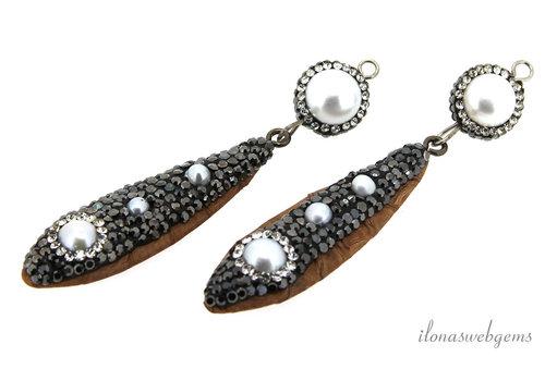 1 pair of earring pendants snakeskin around 60x14mm