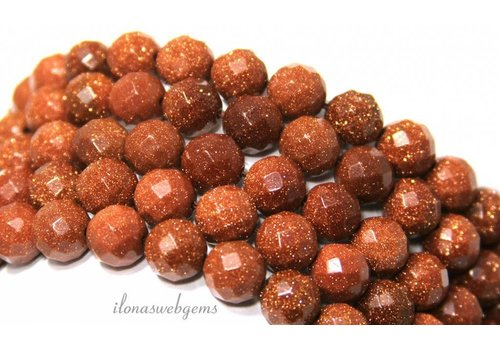 Goldstone beads gold small faceted around 12mm