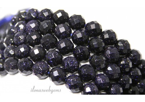 Blue goldstone beads large faceted around 12mm