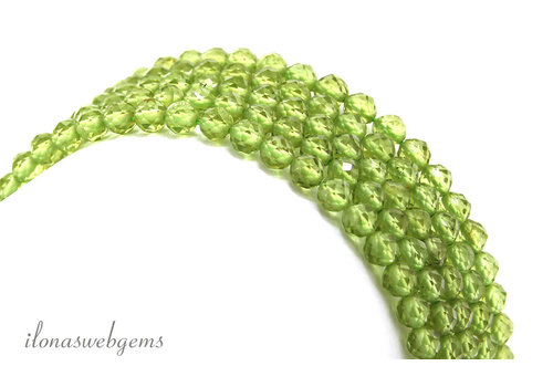 Peridot beads Diamond Cut around 4mm