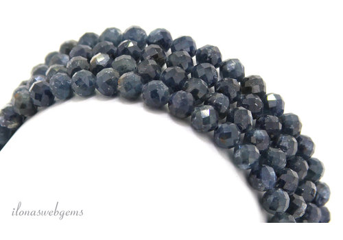 Sapphire beads Diamond Cut about 4mm