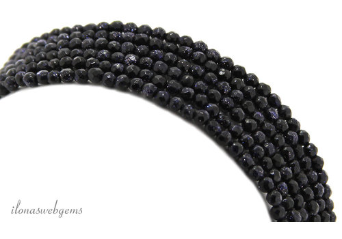Blue goldstone beads faceted around 2mm