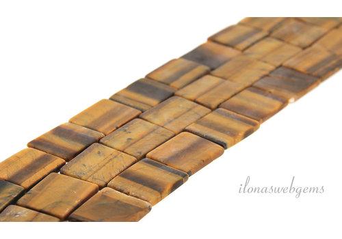 Tijgeroog kralen mat rechthoek ca. 24x20mm