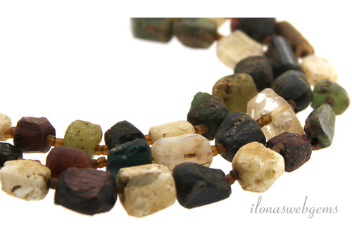 Roman glass beads ascending and descending from around 6x5 to 12x8mm