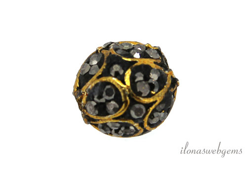 Brass bead with Markasite around 10mm