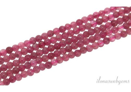 Roze toermalijn kralen rond mini ca. 2mm
