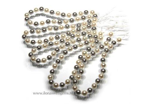 5 stuks Shell Pearl wit en zilver rond 5mm armband lengte