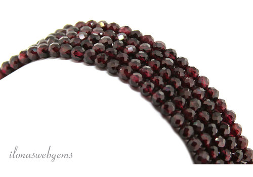Garnet beads faceted approx. 4mm AA quality cut
