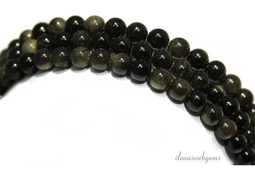 Golden- en Raibow Obsidiaan kralen rond ca. 12mm
