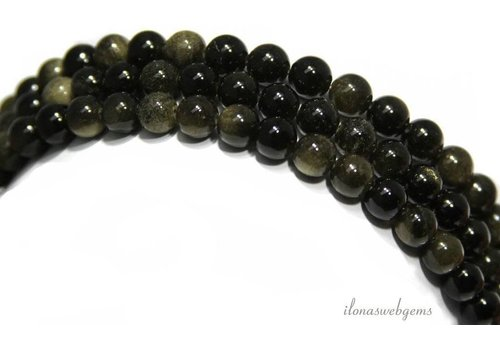 Golden Obsidian beads around 12 mm