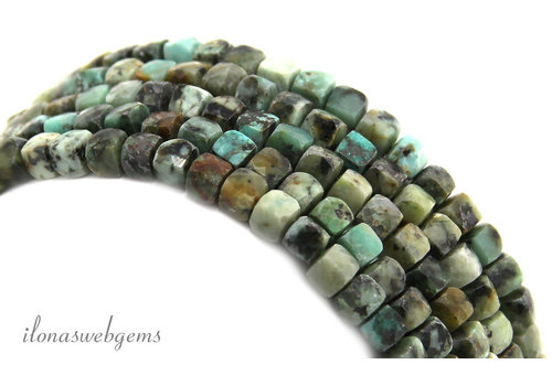 African Turquoise beads faceted cube around 4mm