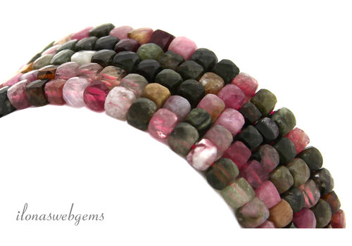 Tourmaline beads faceted cube around 4mm