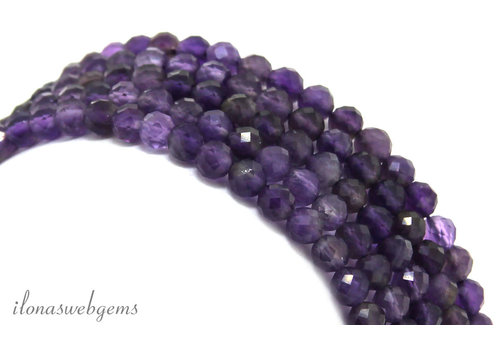 Amethyst beaded facet around ca. 4mm AA quality cut