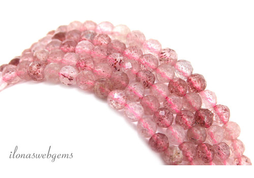 Straberry Quartz beads facet around ca. 4mm AA quality cut