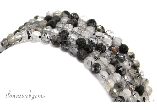 Black Rutilated quartz beads faceted around ca. 4mm AA quality sharpening