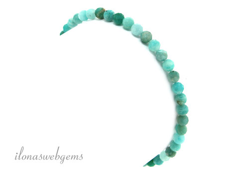 Amazonite beads round faceted bracelet approx 4.5mm