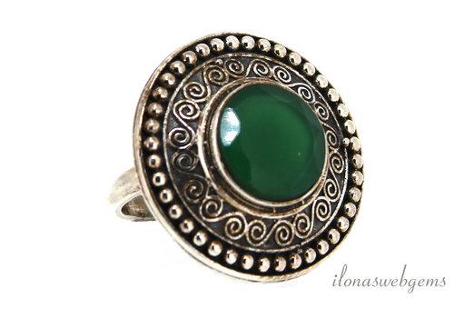 Sterling zilveren ring met Smaragd